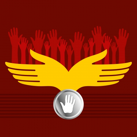 hold up: group of hands vector Illustration