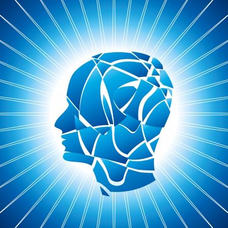 esquizofrenia: vector mente rota