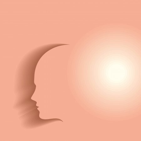 conscious: shadow of human head