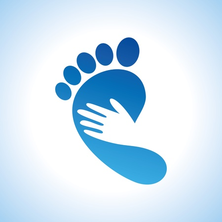 foot prints: creative foot care icon Illustration