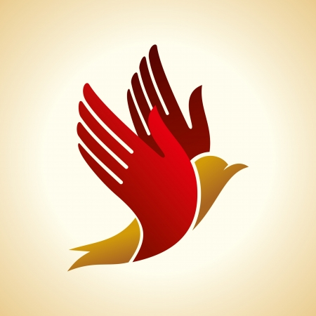 dove of peace: fly of bird to hand  creative idea Illustration