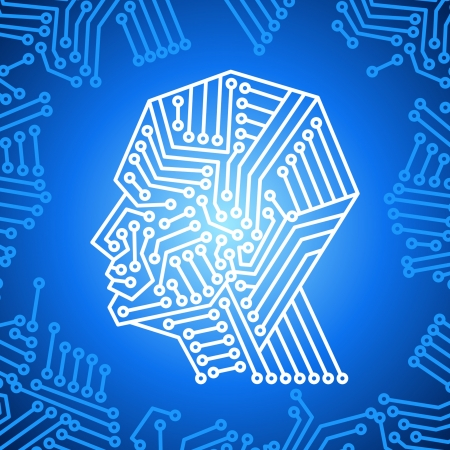 artificial intelligence: concept of thinking background with brain