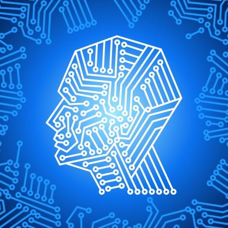 nervenzelle: Konzept des Denkens Hintergrund mit Gehirn Illustration