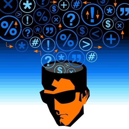 human mind: mente humana pensando nuevas ideas Vectores