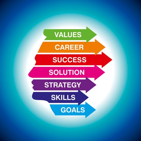 キャリア: 財務グラフ ステータス思考、ベクトル  イラスト・ベクター素材