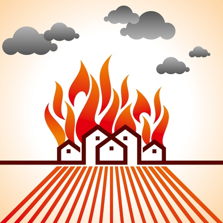 fire on city Stock Vector - 18157829