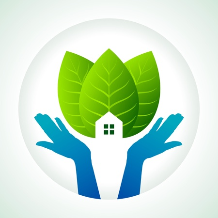 earth hands: protection of green, save earth Illustration