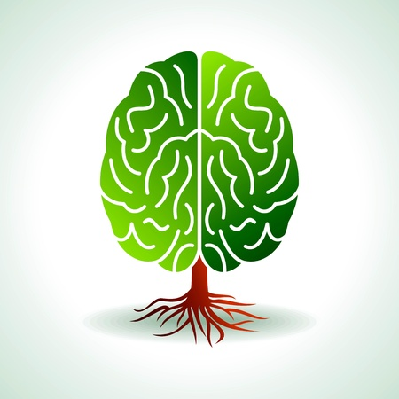 environmental science: a brain growing in the shape of tree