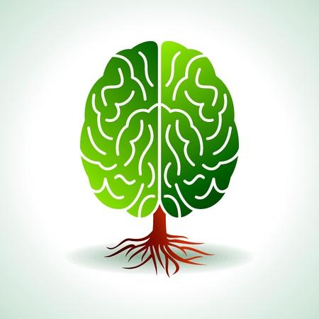 psicologia: un cerebro en crecimiento en forma de árbol