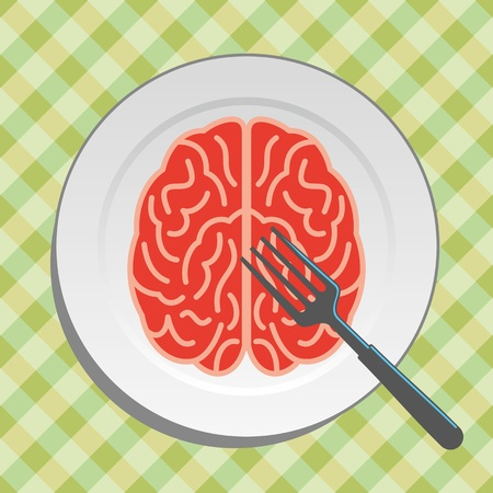 Brain food on plate with fork and knife - vector Stock Vector - 18157869