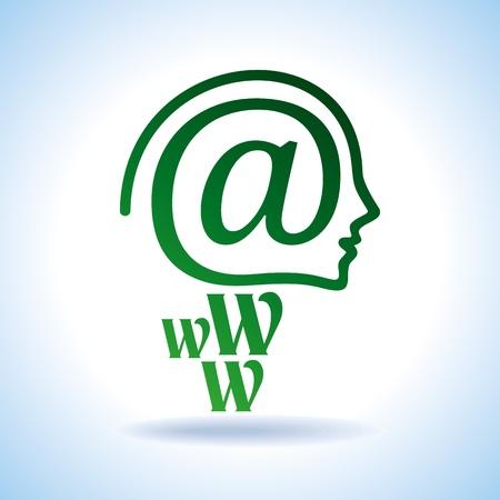 www community: human brain with creative e-mail icon