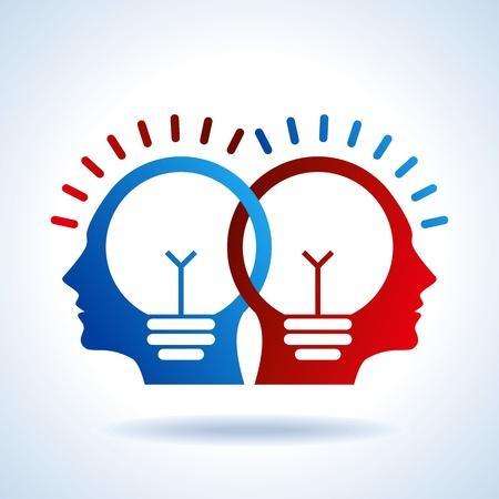 mente: Las cabezas humanas con los conceptos de bulbo negocios s�mbolo