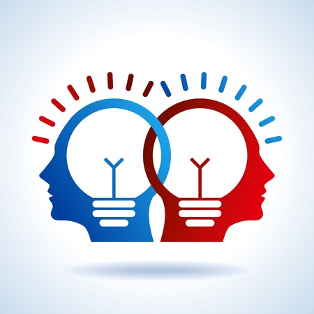 Menselijke hoofden met Bulb symbool Bedrijfsconcepten Vector Illustratie