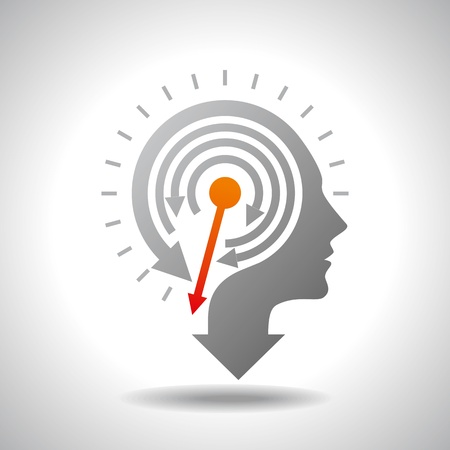 reminder icon: Stop Watch in Human Head - Conceptual Vector
