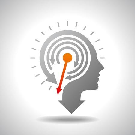 Stop Watch in Human Head - Conceptuele Vector