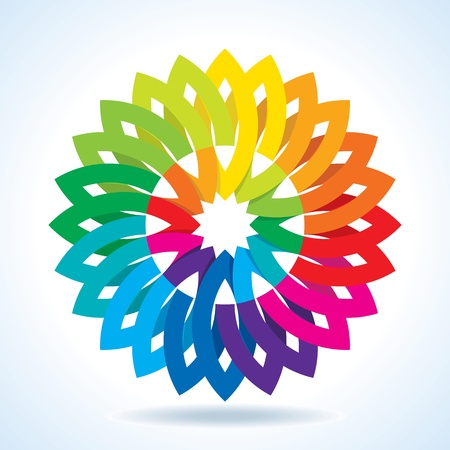 Color Flower Wheel Background Vector