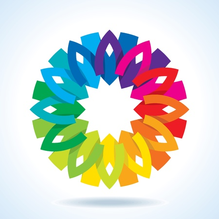 rainbow color star: Color flower wheel background