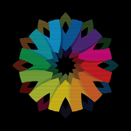 Color flower wheel on black background Vector