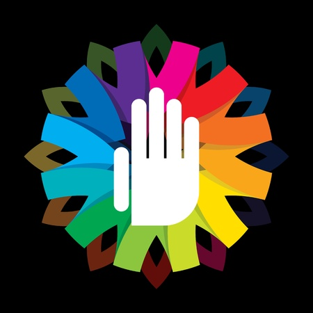spiritual hand on colorful background Vector