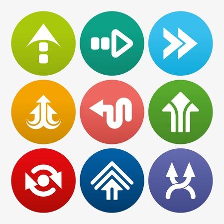 satin round: business arrow sign icon set