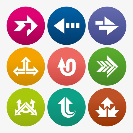 designator: business arrow sign icon set
