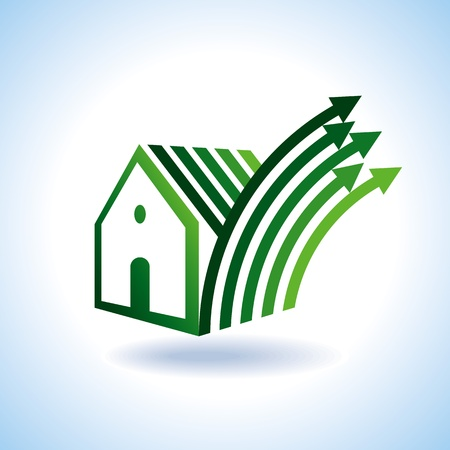 rural community: Bio eco green house icon, upward arrow Illustration