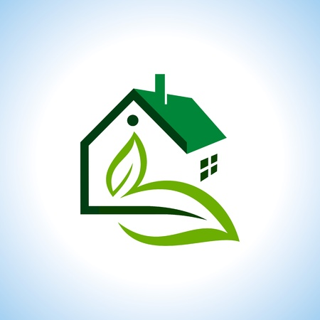 rural houses: Bio eco green house icon