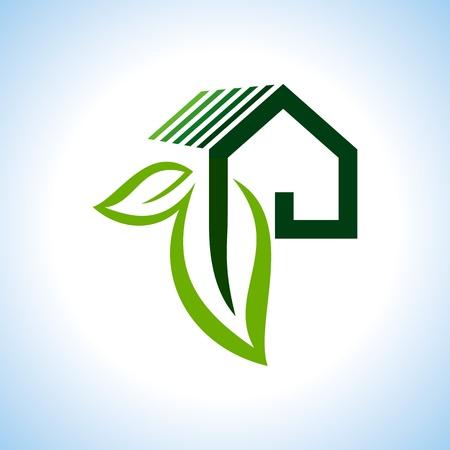 Bio eco groene huis pictogram