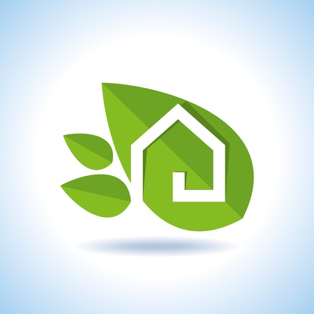 Bio eco green house icon Vector