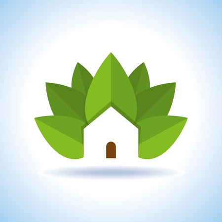 clean energy: Bio eco green house icon