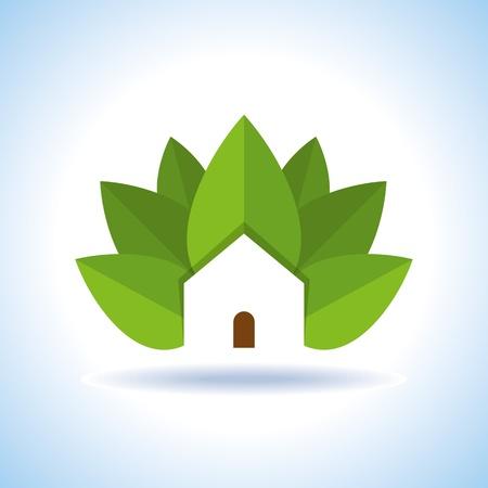 Bio eco groene huis pictogram Vector Illustratie