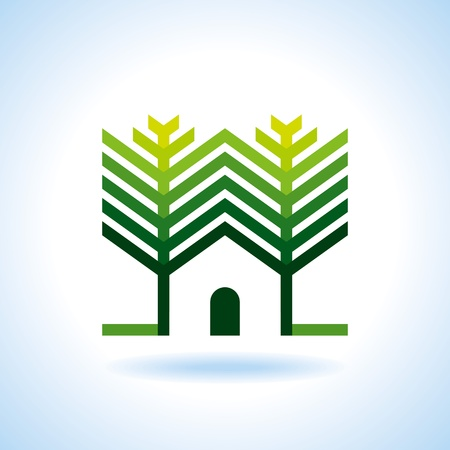 recycle area: Bio eco green house icon