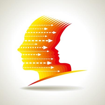 financial leadership: Los pensamientos y las opciones de ilustraci�n vectorial de cabeza con flechas Vectores