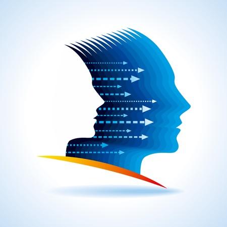 financial leadership: Los pensamientos y las opciones, ilustraci�n vectorial de la cabeza