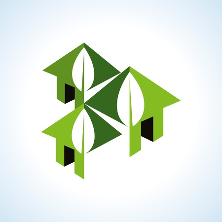 rural community: Bio green house icons
