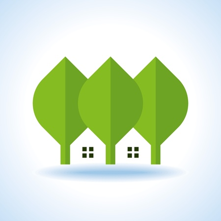 recycle area: bio green house icons Illustration