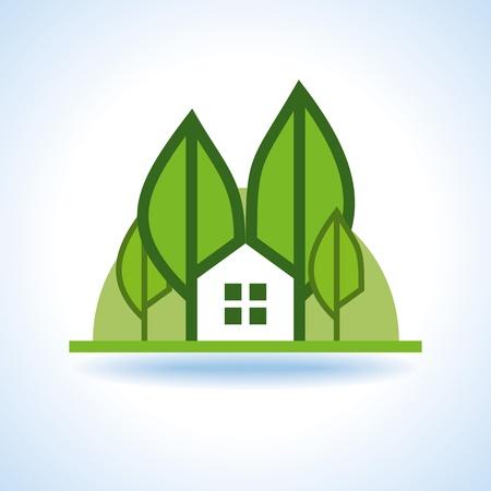 sanatorium: Bio green house icon Illustration