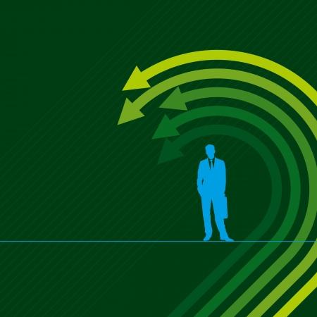 stock predictions: confuso giovane uomo d'affari, freccia movimento