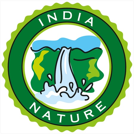 waterfall in forest: label of India nature