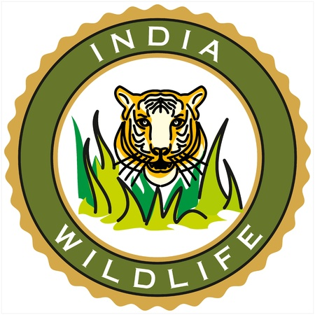 label of India wildlife Stock Vector - 18178407