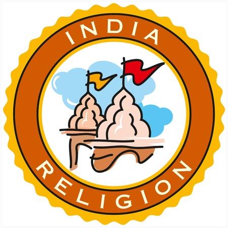 hindu god shiva: labels of India religion Illustration