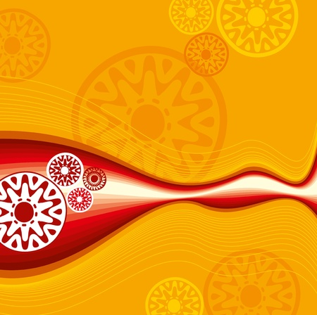 Red yellow lace ornament background Vector