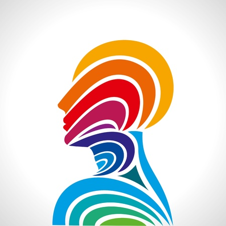 to listen: human head thinking  making from multicolor Illustration