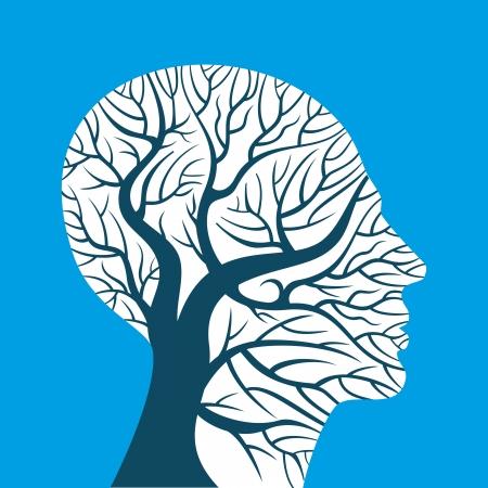 zenuwcel: menselijke hersenen, groene gedachten Stock Illustratie