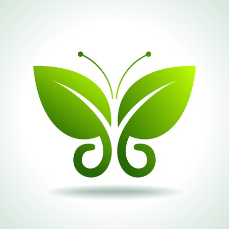 insect on leaf: Eco logo green butterflies