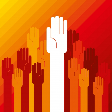 colorful up hand concept of democracy Stock Vector - 18178053