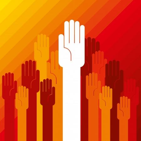 democracia: por concepto de mano colorido de la democracia Vectores