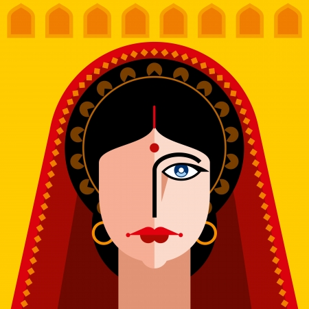 indian lady portrait Stock Vector - 18178045