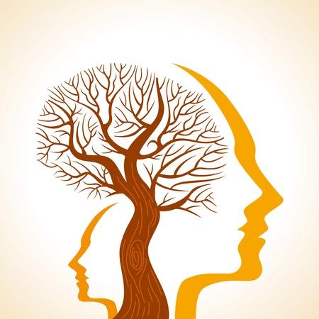 cerebro humano: Hombre con un paisaje de árboles dentro de su silueta