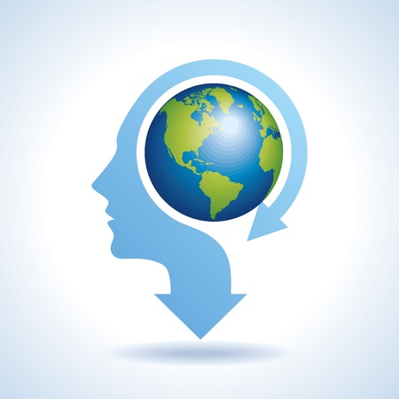 minds: Illustration of world map in human head, vector